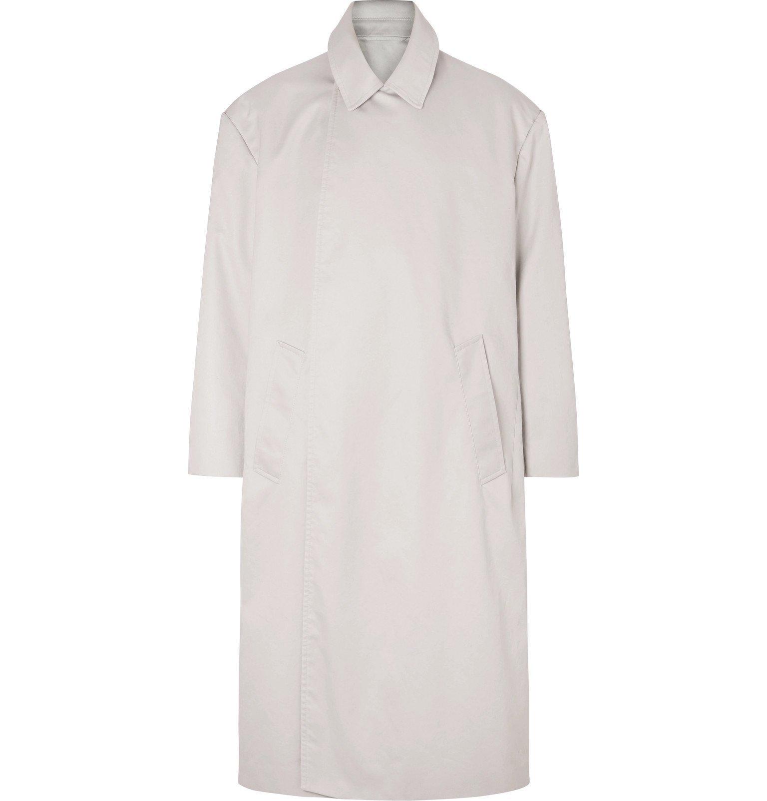 Photo: Balenciaga - Cotton-Gabardine Trench Coat - Gray