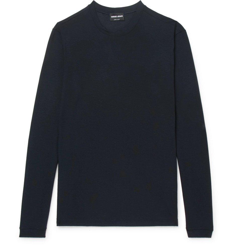 Giorgio Armani - Slim-Fit Stretch-Jersey T-Shirt - Men - Navy