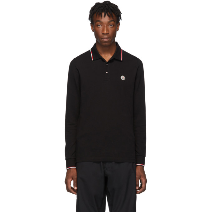 Photo: Moncler Black Logo Long Sleeve Polo