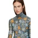 Acne Studios Blue and Orange Flower Print Turtleneck