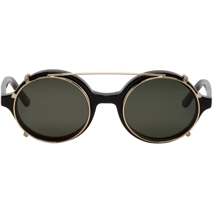 Photo: Han Kjobenhavn Black and Gold Doc Clip-On Sunglasses