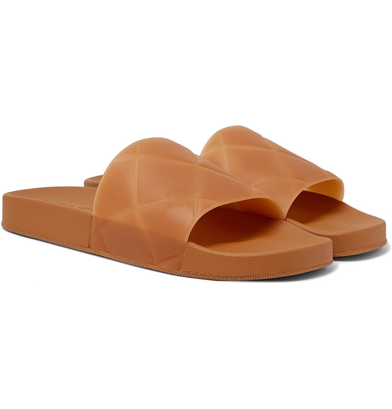 Photo: Bottega Veneta - Intrecciato Rubber Slides - Brown