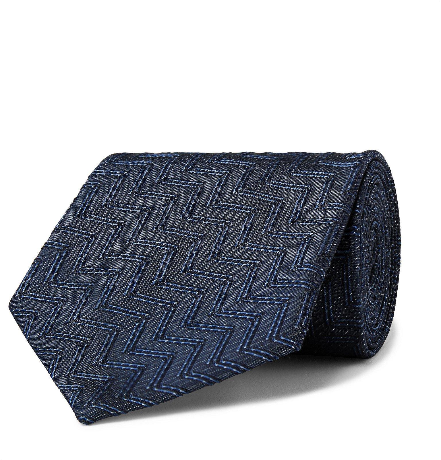 Giorgio Armani - 7.5cm ZigZag Silk-Jacquard Tie - Blue
