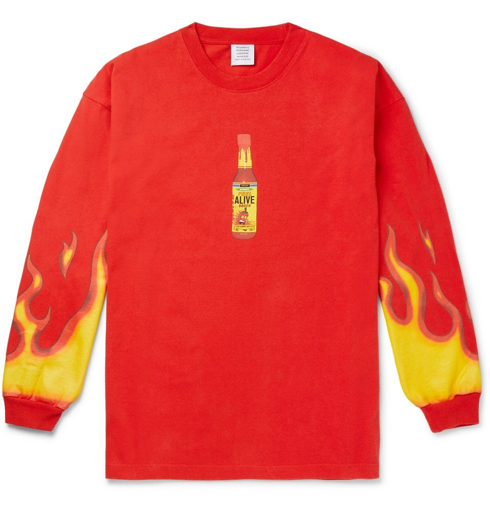 Photo: Vetements - Oversized Printed Cotton-Jersey T-Shirt - Red