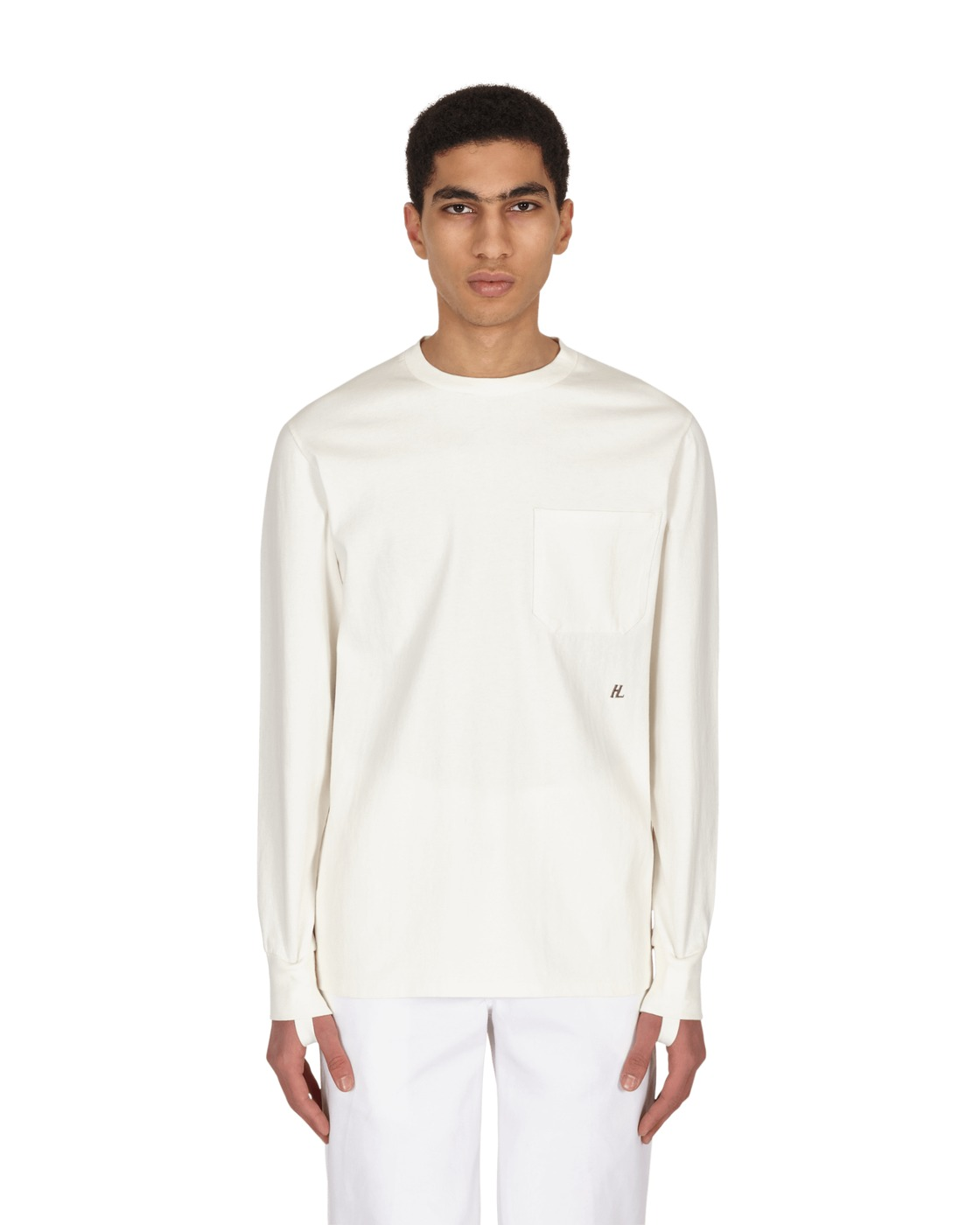 Photo: Helmut Lang Strap Longsleeve T Shirt Powdered Ecru