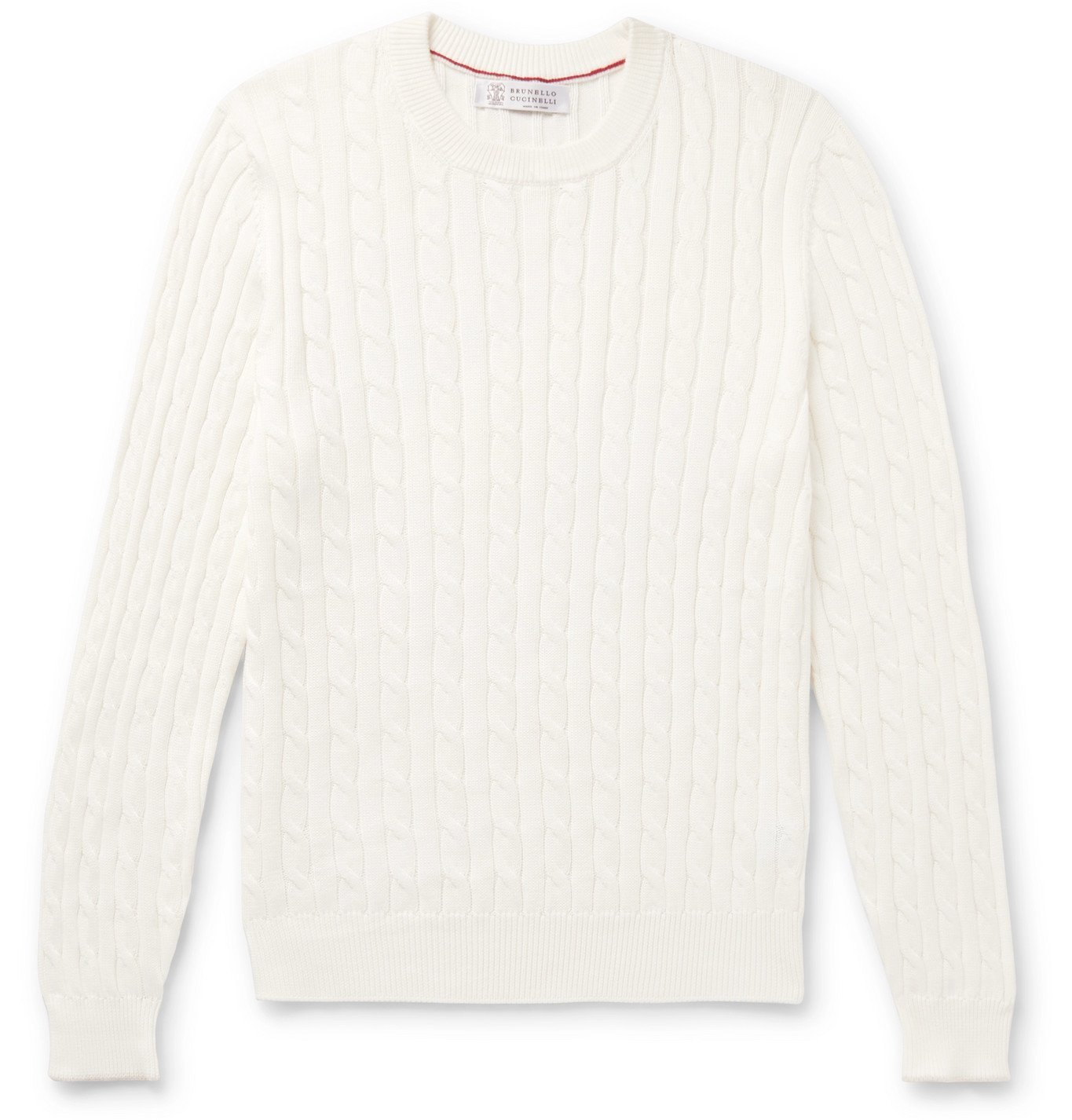 Photo: Brunello Cucinelli - Slim-Fit Cable-Knit Cotton Sweater - White