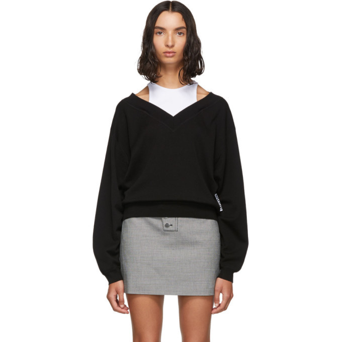 Photo: alexanderwang.t Black and White Cropped Bi-Layer V-Neck Sweater