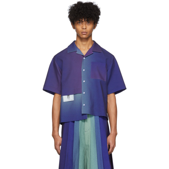 Photo: Keenkee Purple Gradient Panel Short Sleeve Shirt