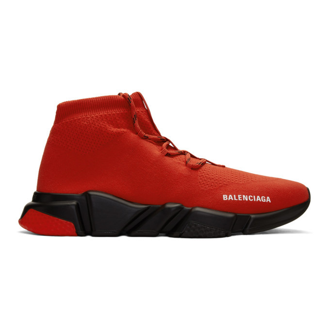 Photo: Balenciaga Red and Black Speed Lace-Up Sneakers