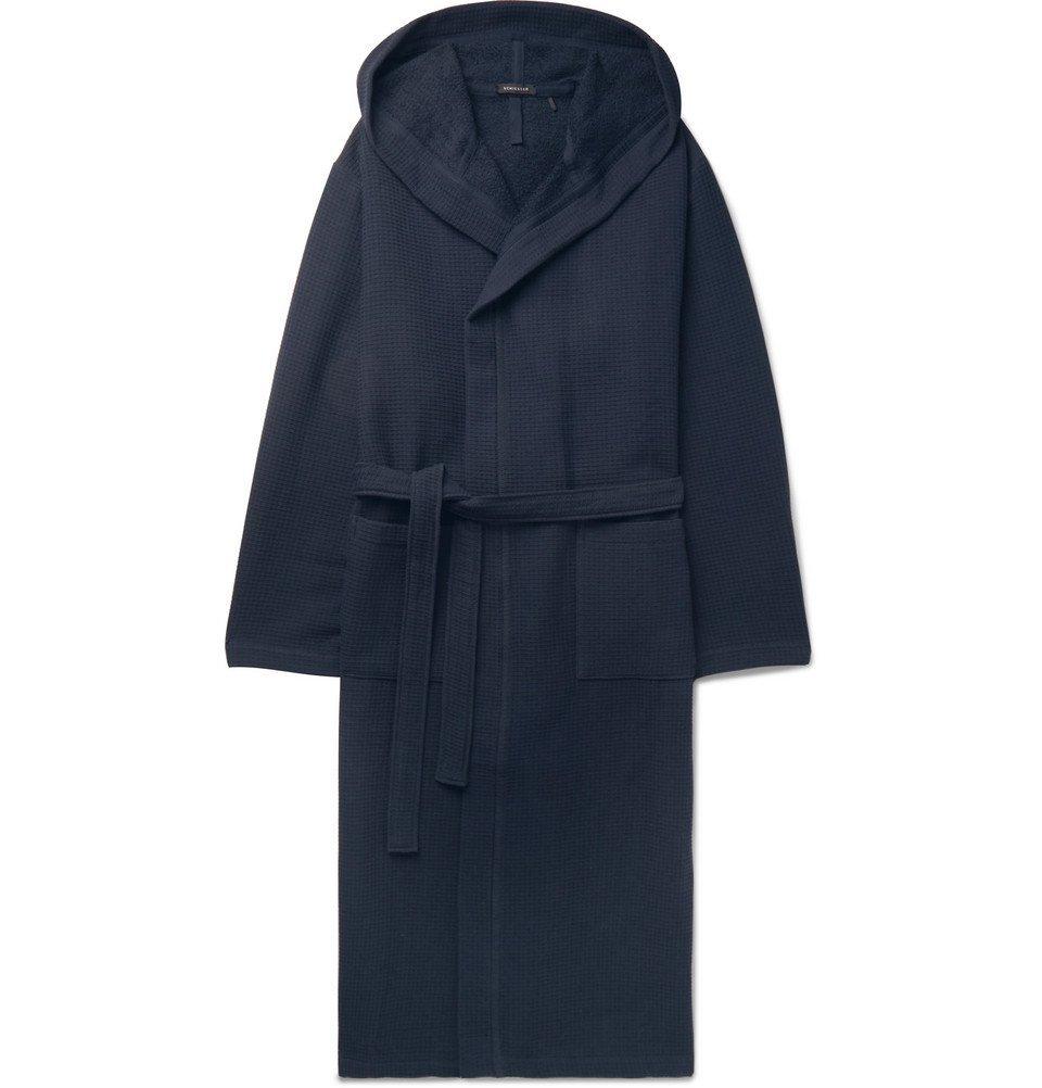 Schiesser - Waffle-Knit Cotton Hooded Robe - Men - Navy