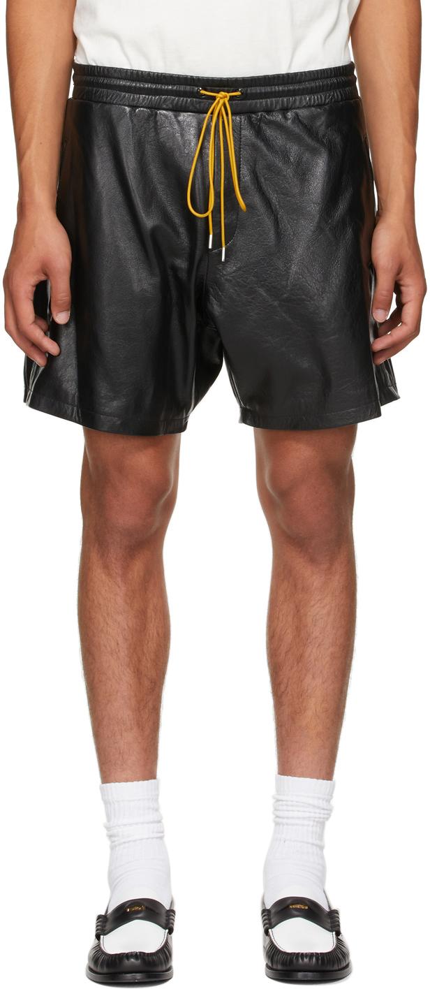 Photo: Rhude Black Leather Ciesta Shorts