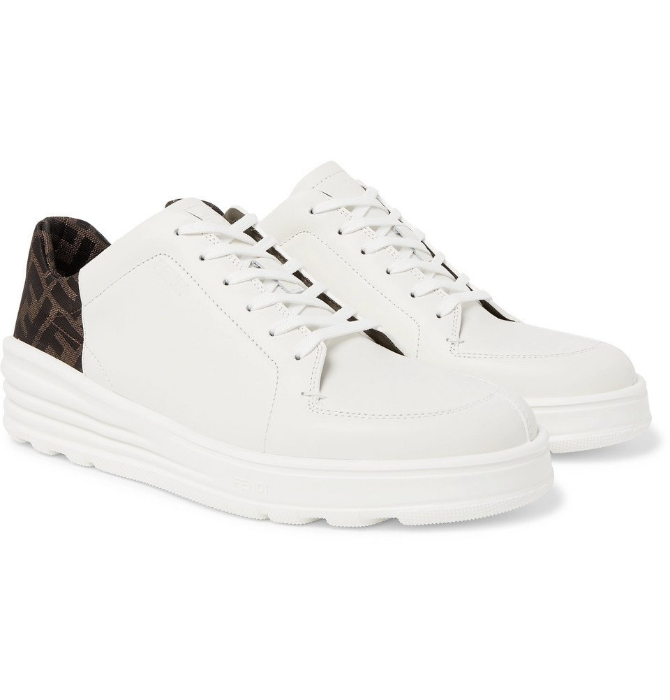Photo: Fendi - Logo-Print Webbing and Leather Sneakers - White