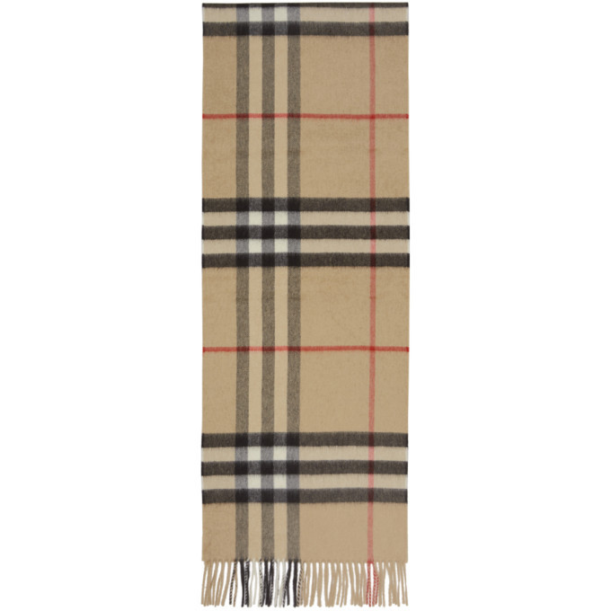 Photo: Burberry Beige Cashmere Giant Check Scarf
