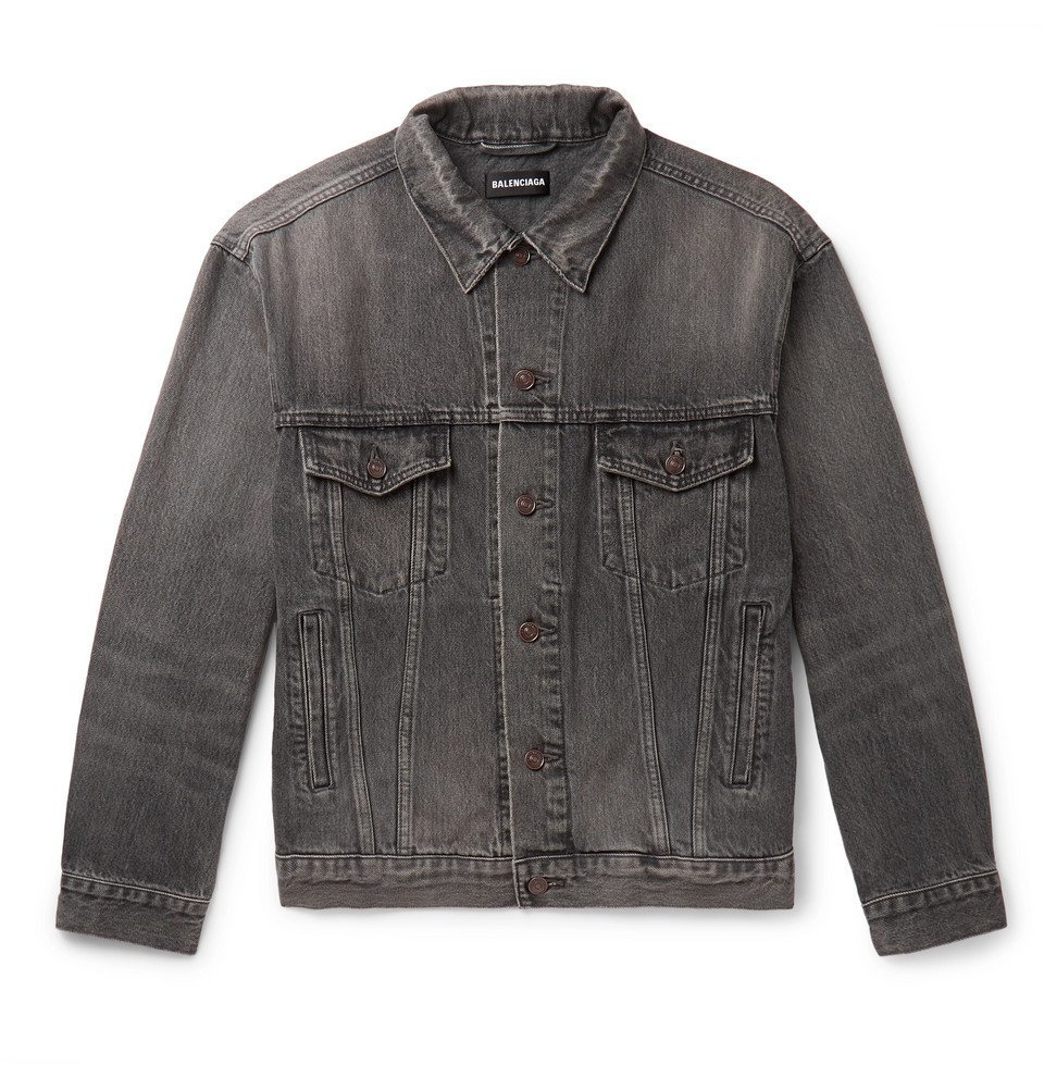 Photo: Balenciaga - Logo-Print Organic Denim Jacket - Dark gray