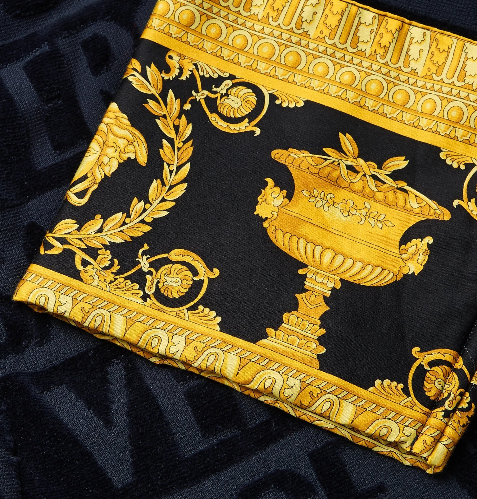 Versace - Satin-Trimmed Logo-Jacquard Cotton-Terry Robe - Blue