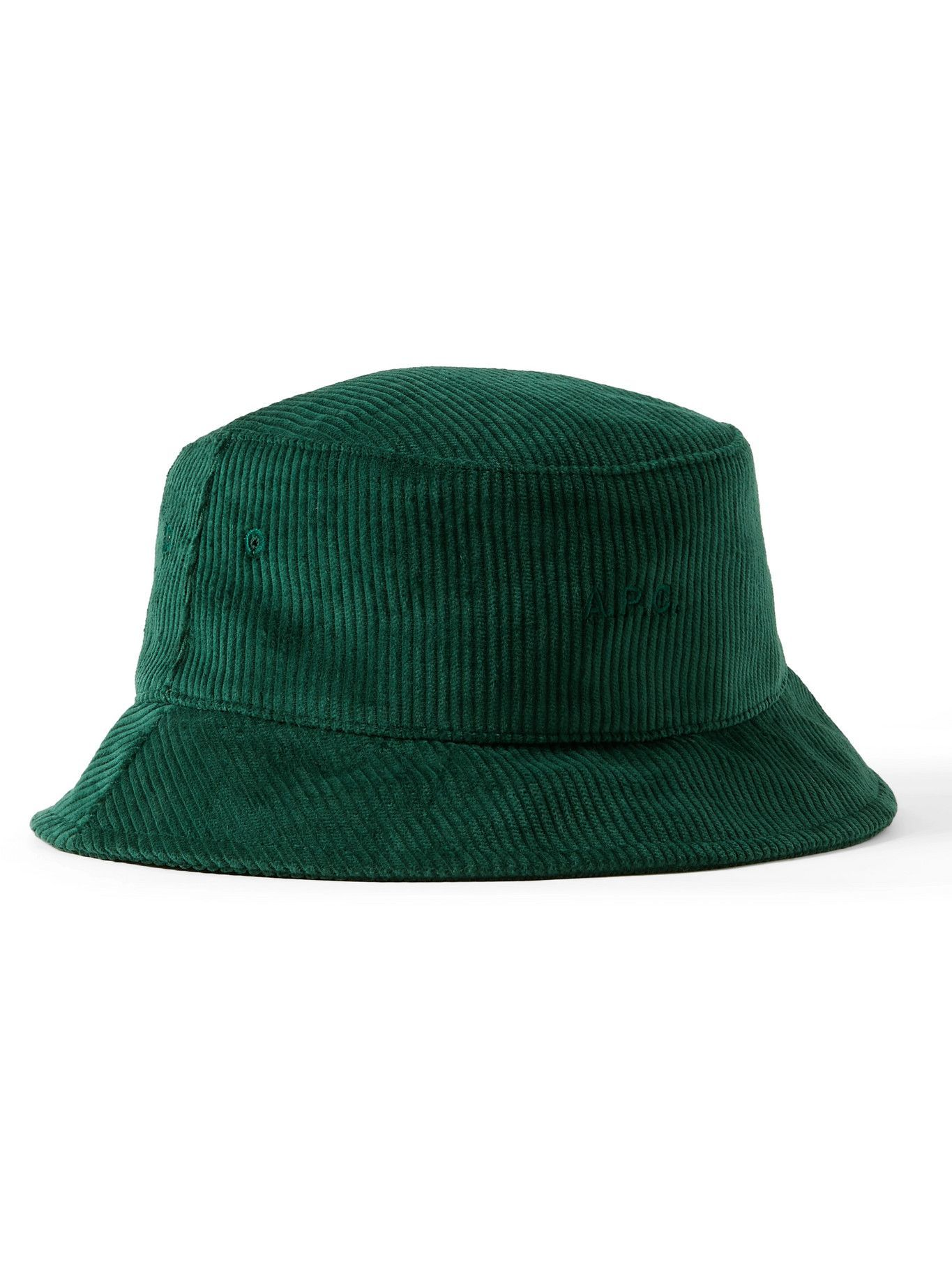 Photo: A.P.C. - Logo-Embroidered Cotton-Corduroy Bucket Hat - Green
