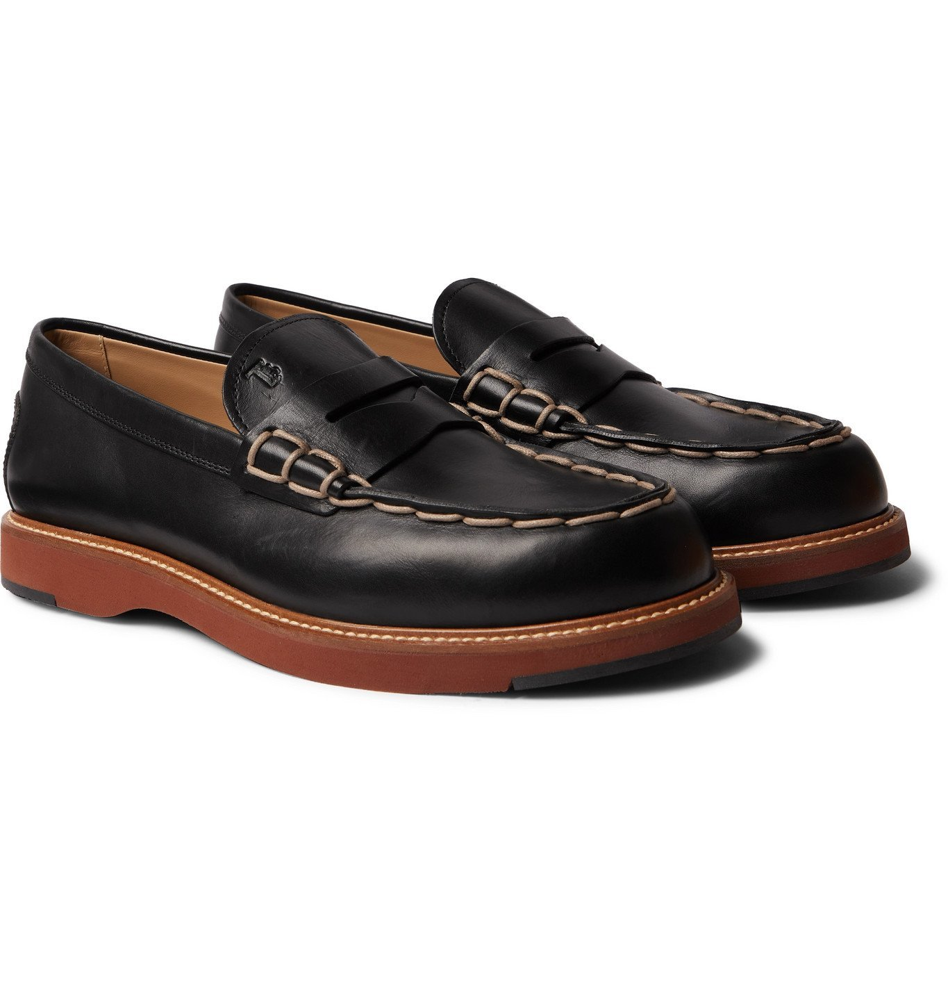 Photo: TOD'S - Contrast-Stitched Leather Loafers - Black