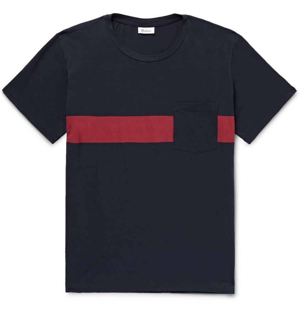 Schiesser - Nick Striped Cotton-Jersey T-Shirt - Men - Navy