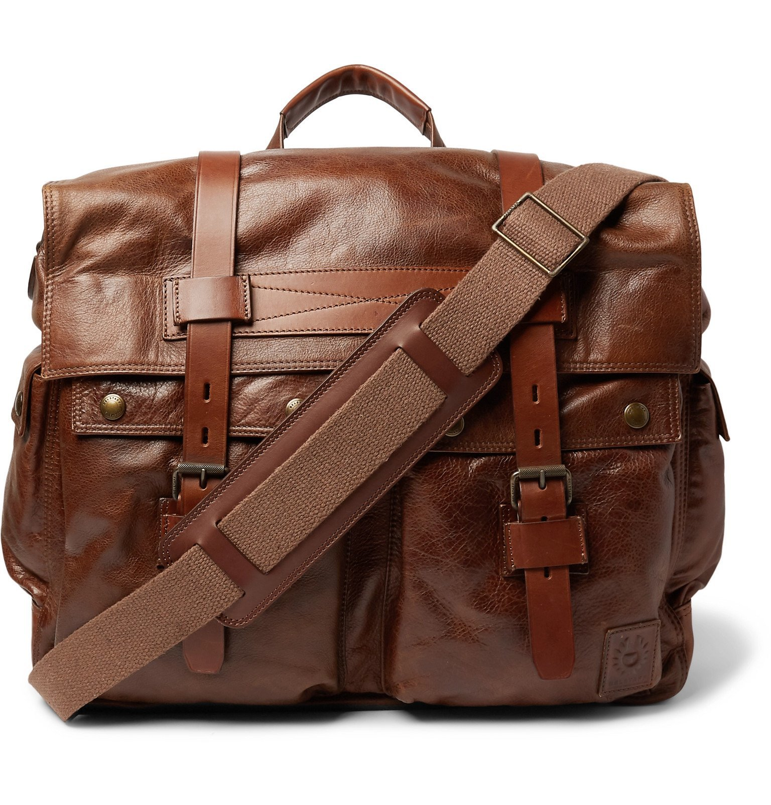 Photo: Belstaff - Waxed-Leather Messenger Bag - Brown