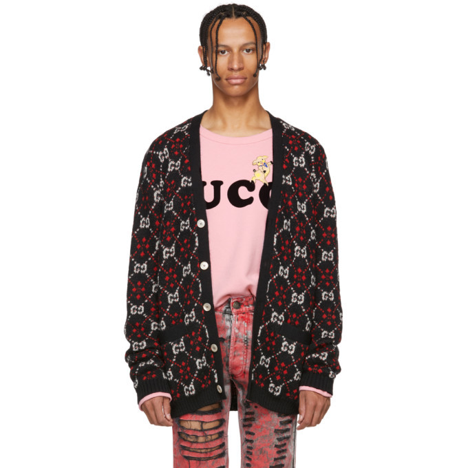 Photo: Gucci Black and Red GG Logo Cardigan