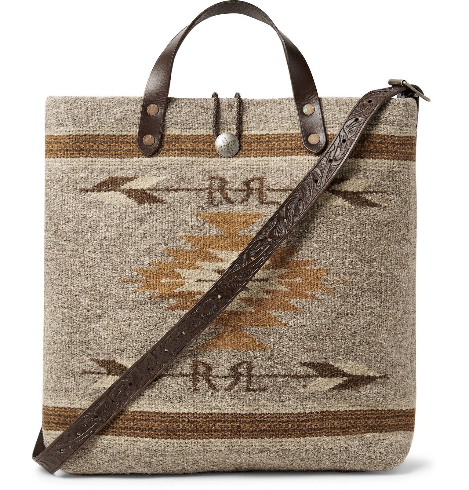 RRL - Garrett Leather-Trimmed Wool and Cotton-Blend Tote Bag - Brown