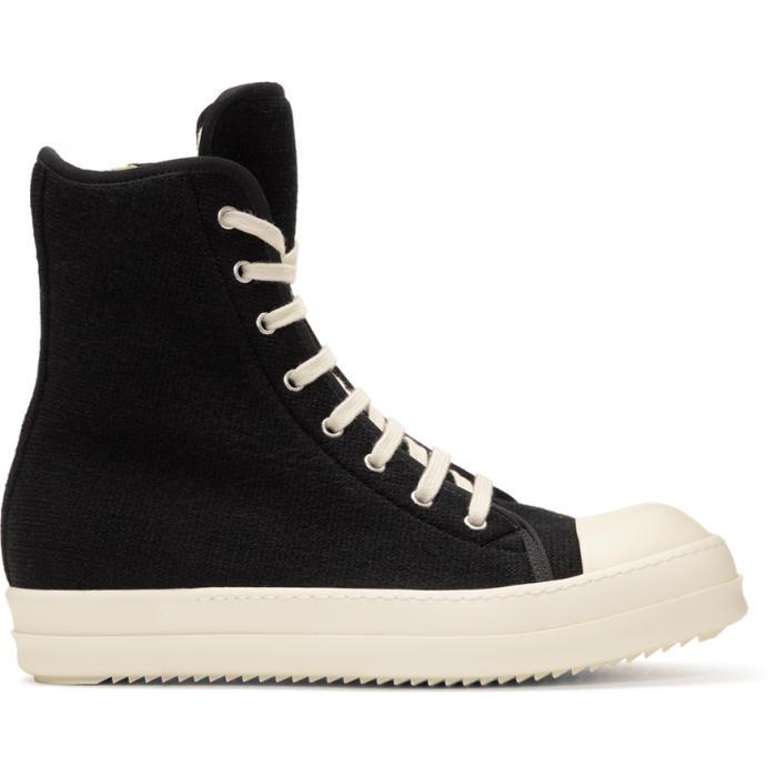 Black Wool Toe Cap High-Top Sneakers Rick Owens Cn1J5