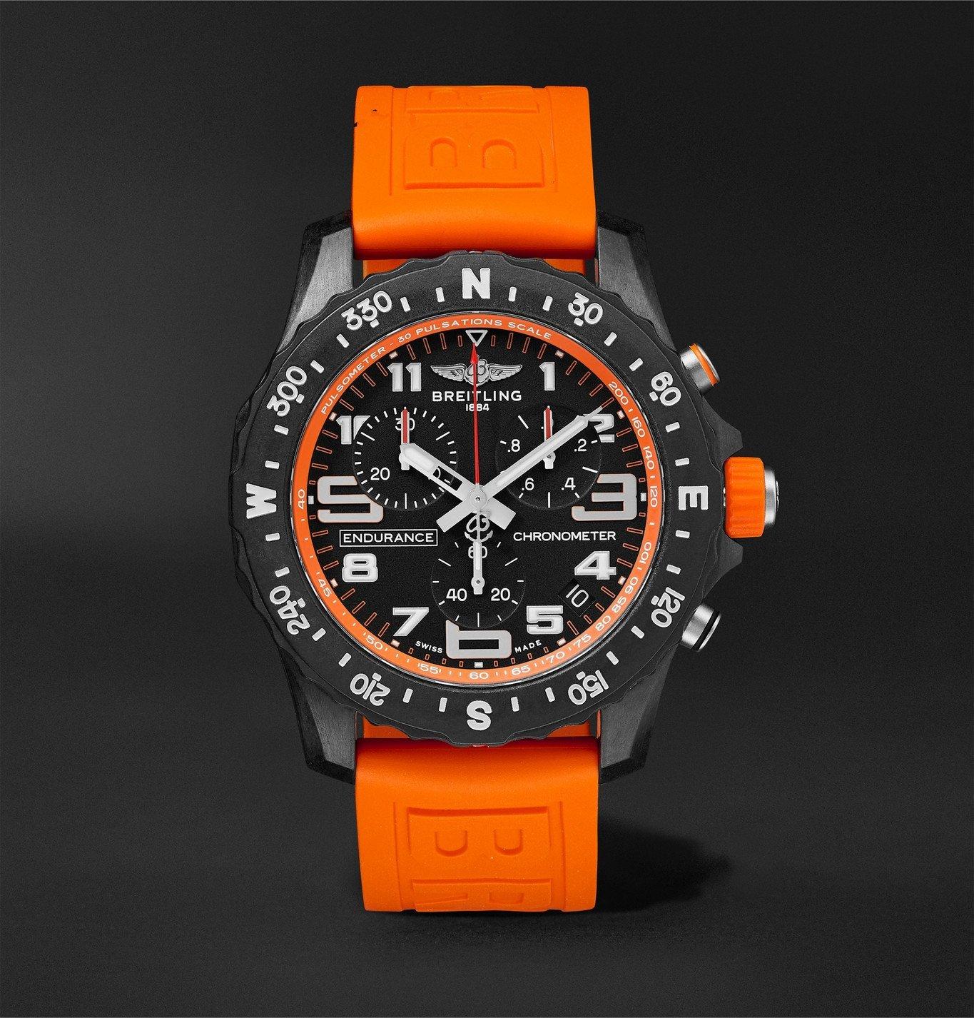 Photo: Breitling - Endurance Pro SuperQuartz Chronograph 44mm Breitlight and Rubber Watch, Ref. No. X82310A51B1S1 - Orange