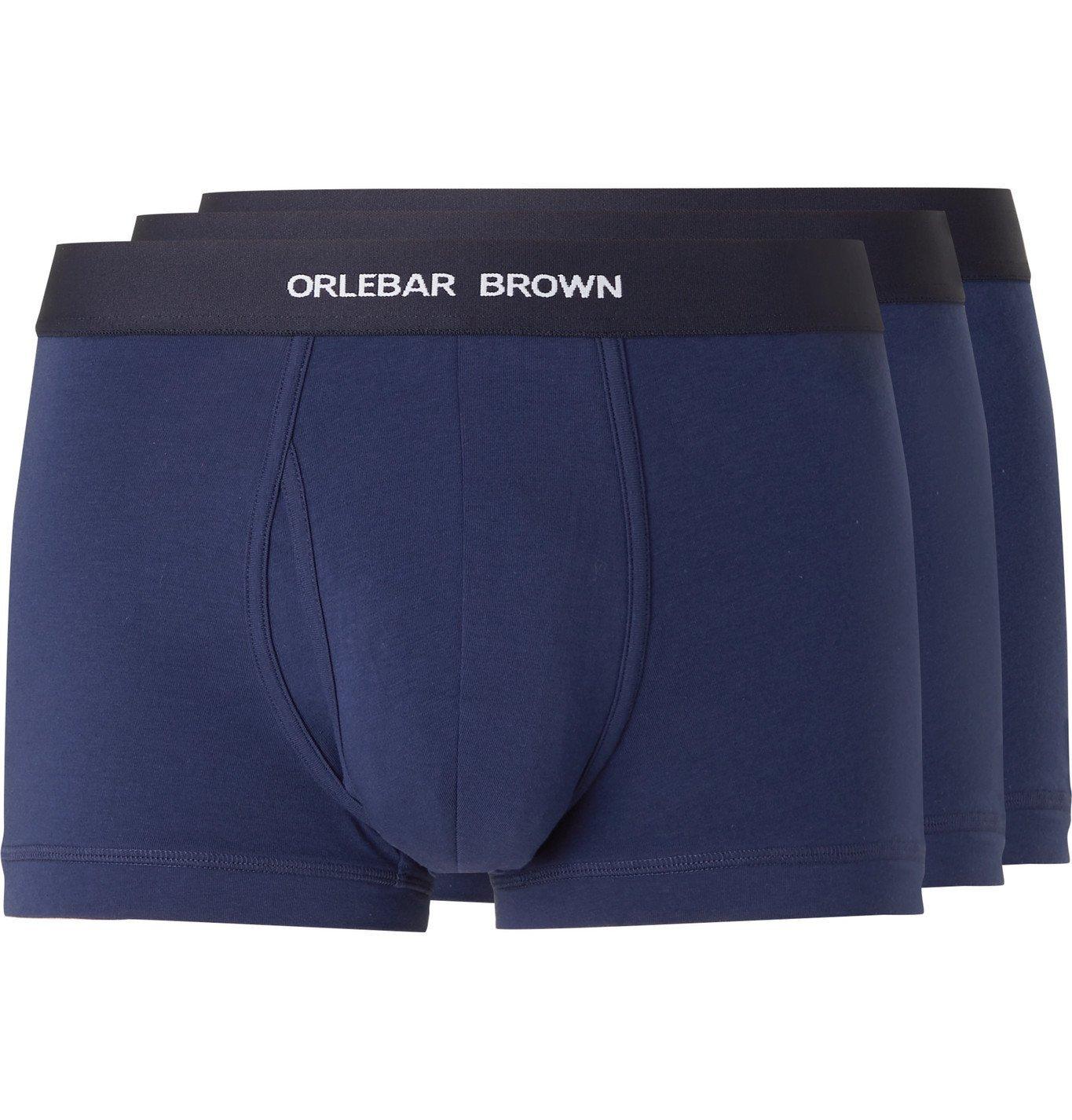 Photo: Orlebar Brown - Three-Pack Stretch-Cotton Boxer Briefs - Blue