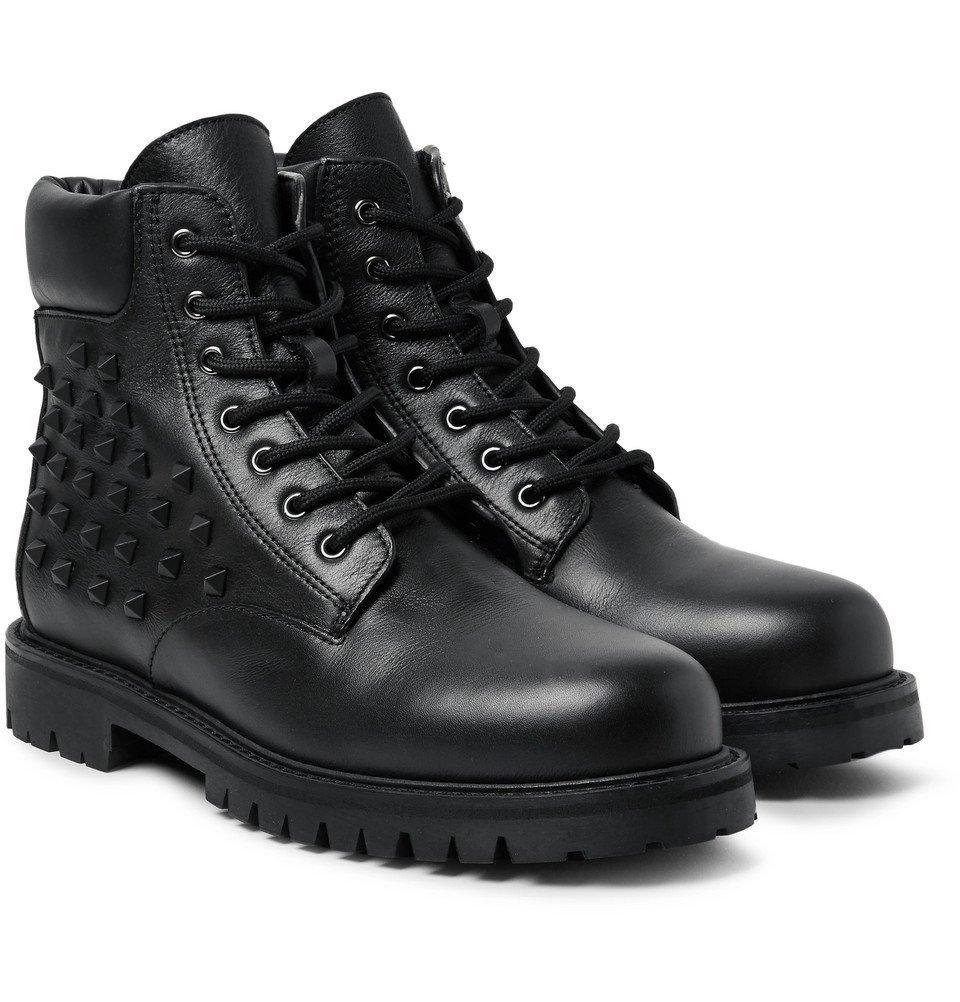 Photo: Valentino - Studded Leather Boots - Men - Black