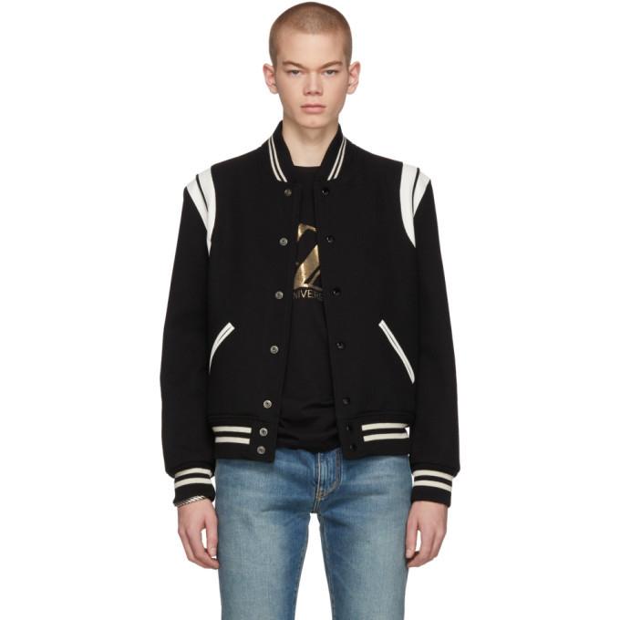 Photo: Saint Laurent Black and White Teddy Bomber Jacket