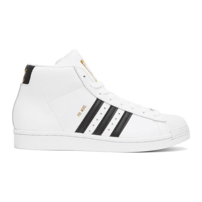 adidas Originals White Pro Model High-Top Sneakers