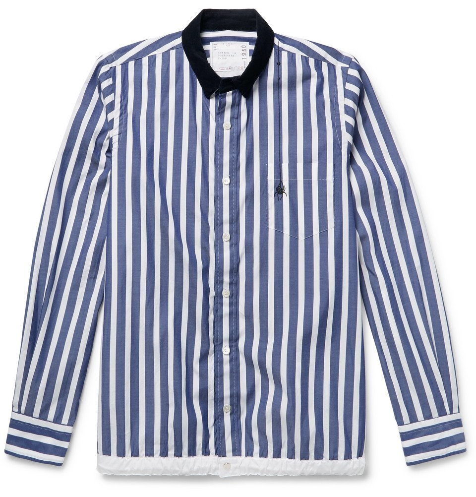 Photo: Sacai - Dr. Woo Embroidered Corduroy-Trimmed Striped Cotton Shirt - Blue