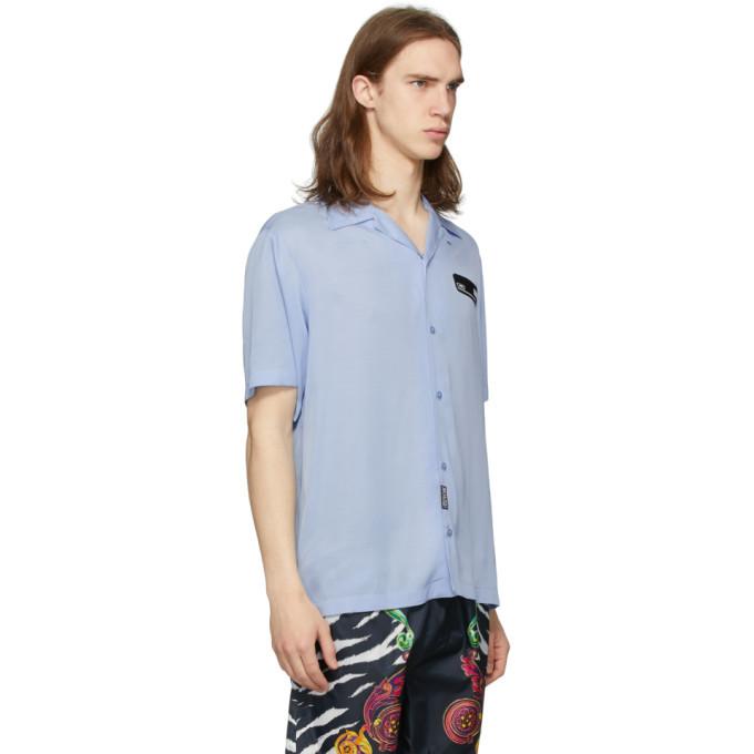 Versace Jeans Couture Blue Rubber Logo Short Sleeve Shirt