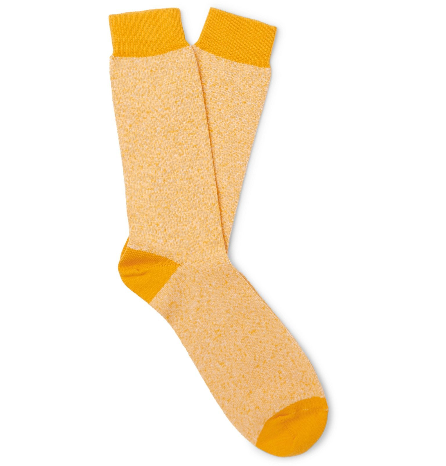 Sunspel - Mélange Organic Cotton-Blend Socks - Yellow