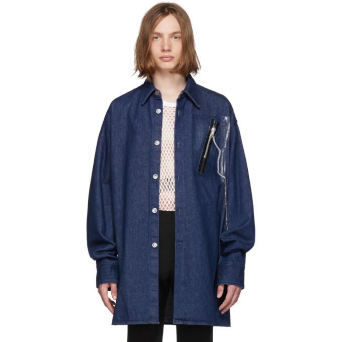 Raf Simons Navy Denim Zipper Big Shirt