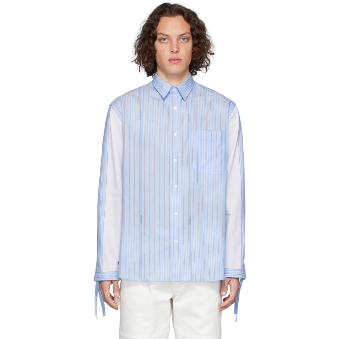 Photo: JW Anderson Blue Drawstring Logo Stripe Shirt