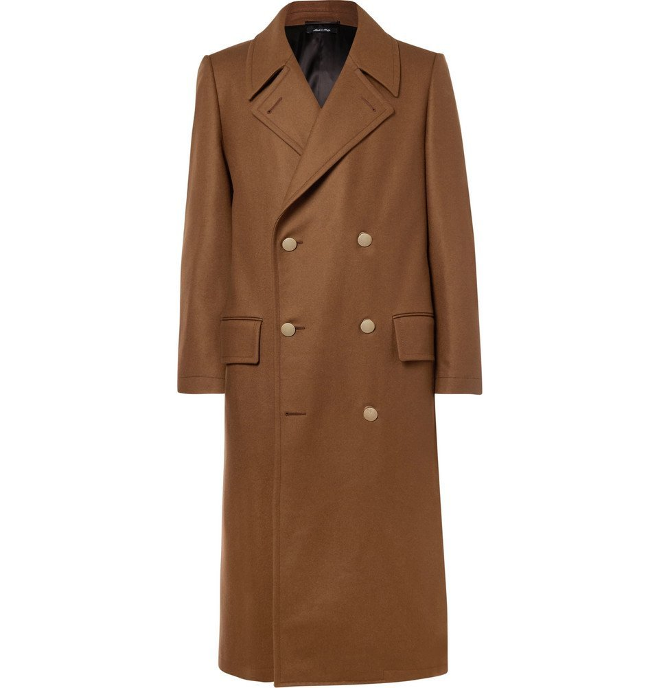 Photo: Dunhill - Slim-Fit Double-Breasted Stretch Wool and Cashmere-Blend Overcoat - Men - Brown