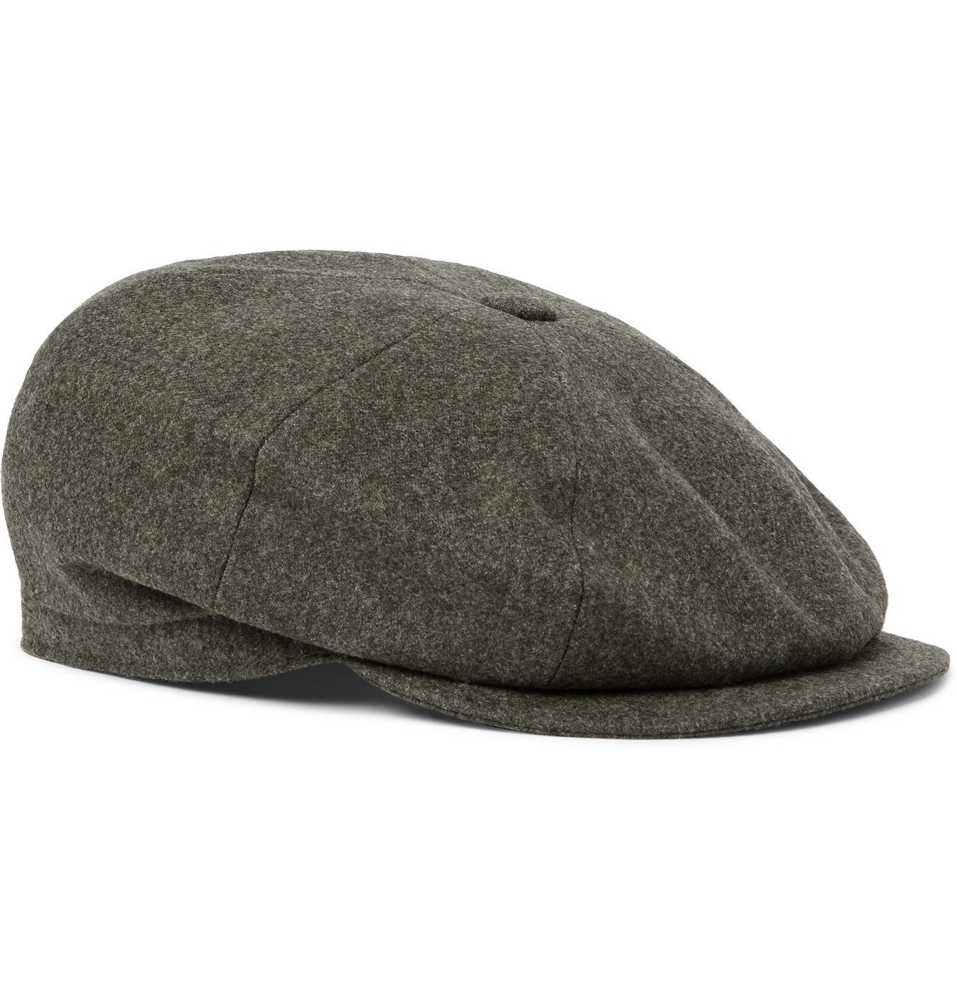 Photo: Brunello Cucinelli - Wool-Flannel Flat Cap - Green