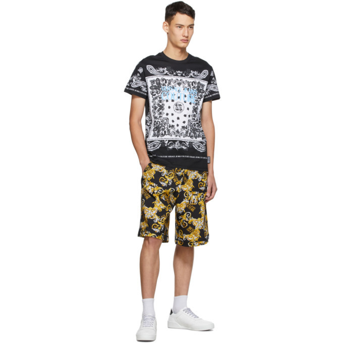 Versace Jeans Couture Black and White Paisley Loop T-Shirt
