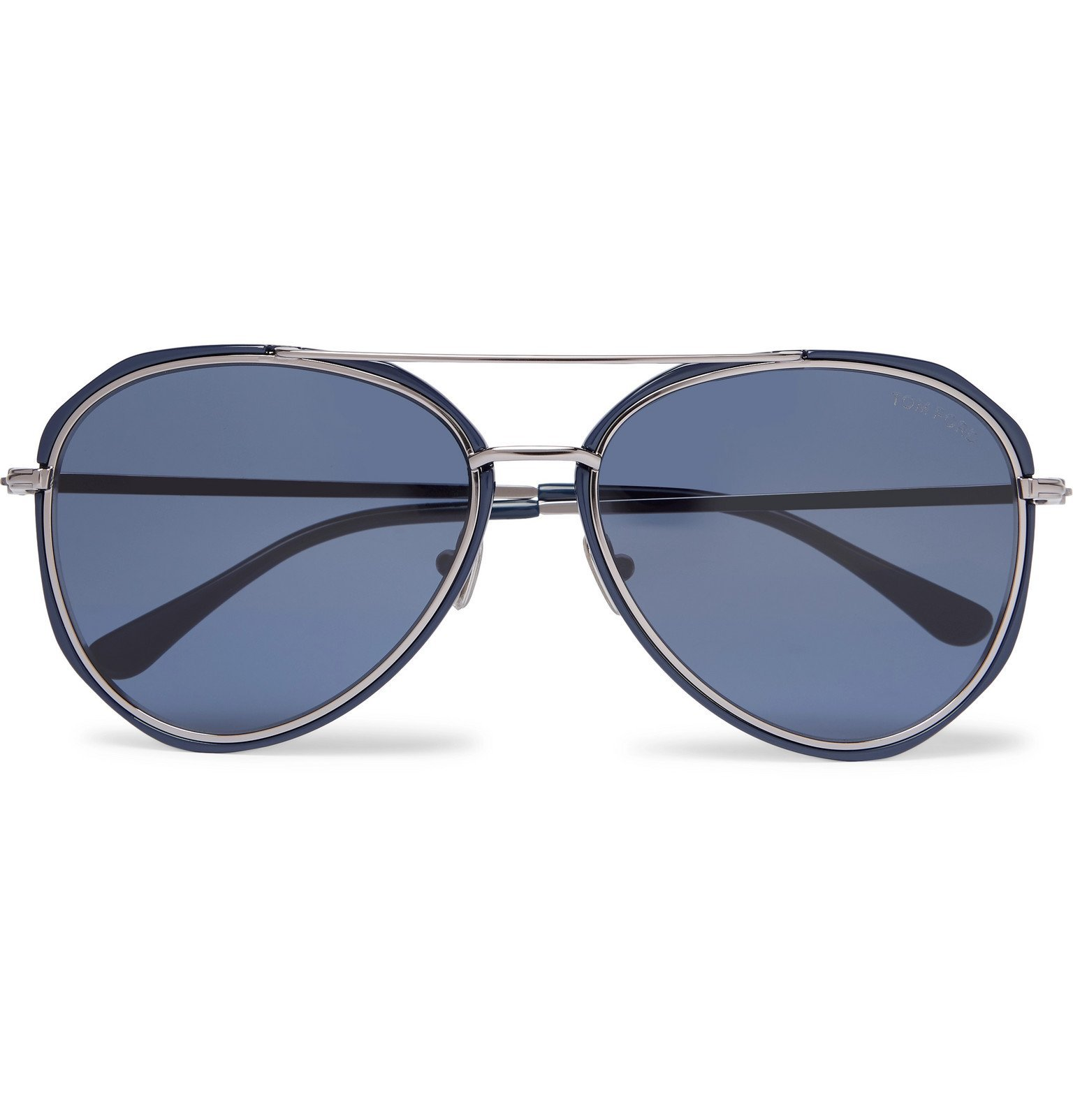 Photo: TOM FORD - Aviator-Style Acetate and Silver-Tone Sunglasses - Blue