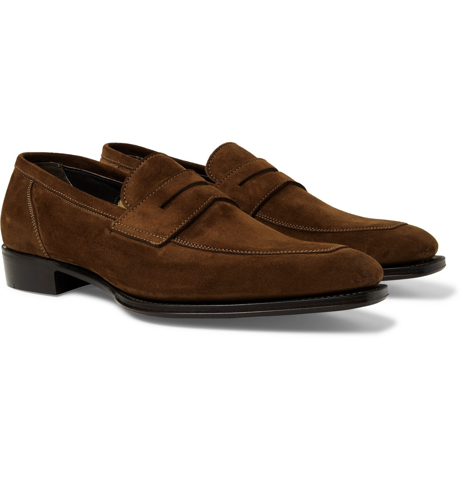 Photo: Kingsman - George Cleverley Suede Penny Loafers - Brown