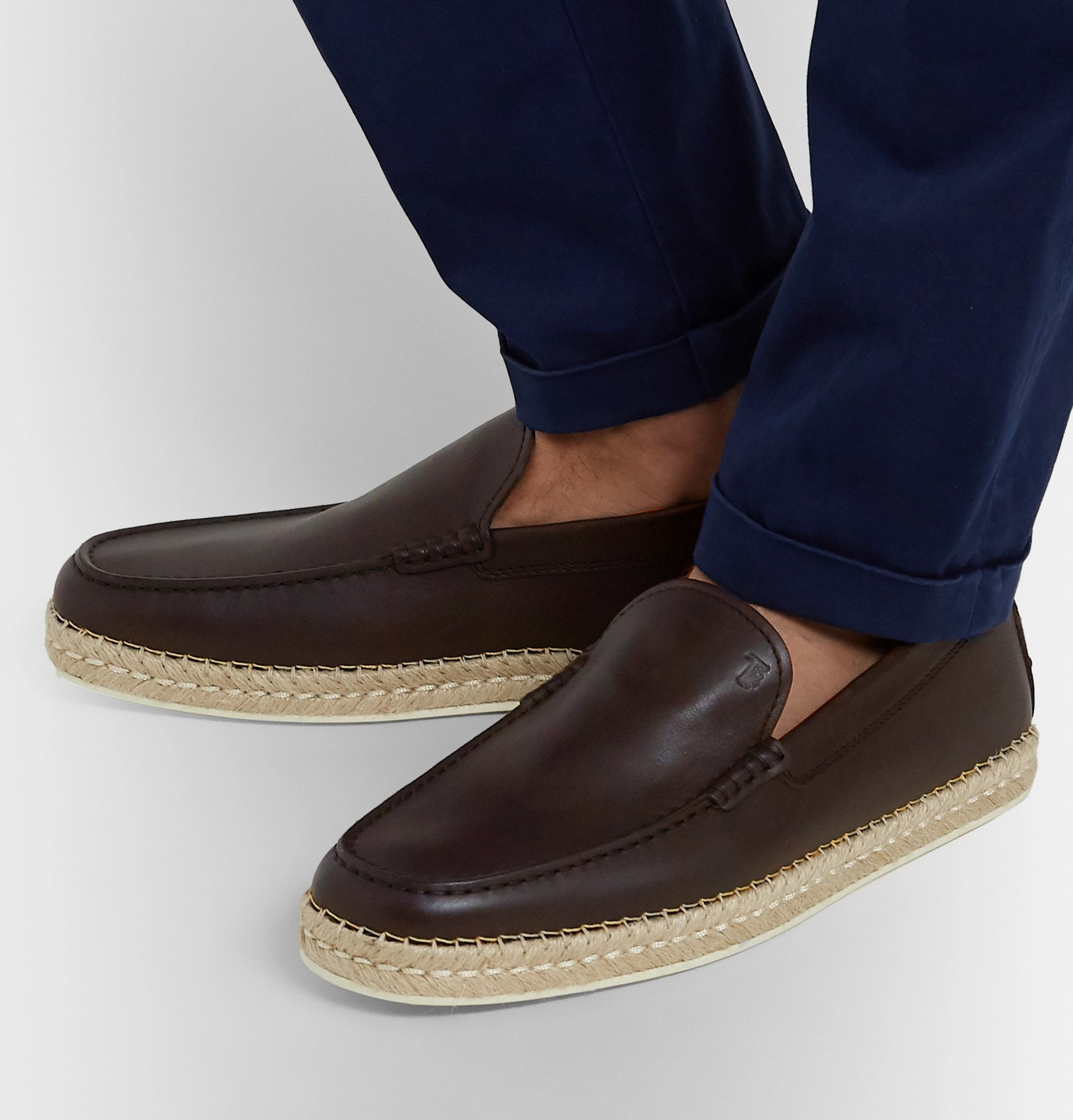 Tod's - Leather Espadrille Loafers - Brown