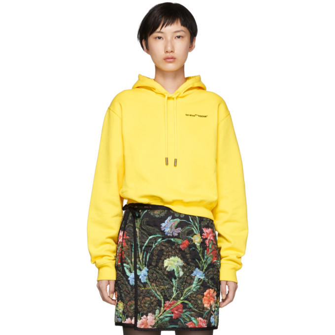Photo: Off-White Yellow Quotes Cropped Hoodie