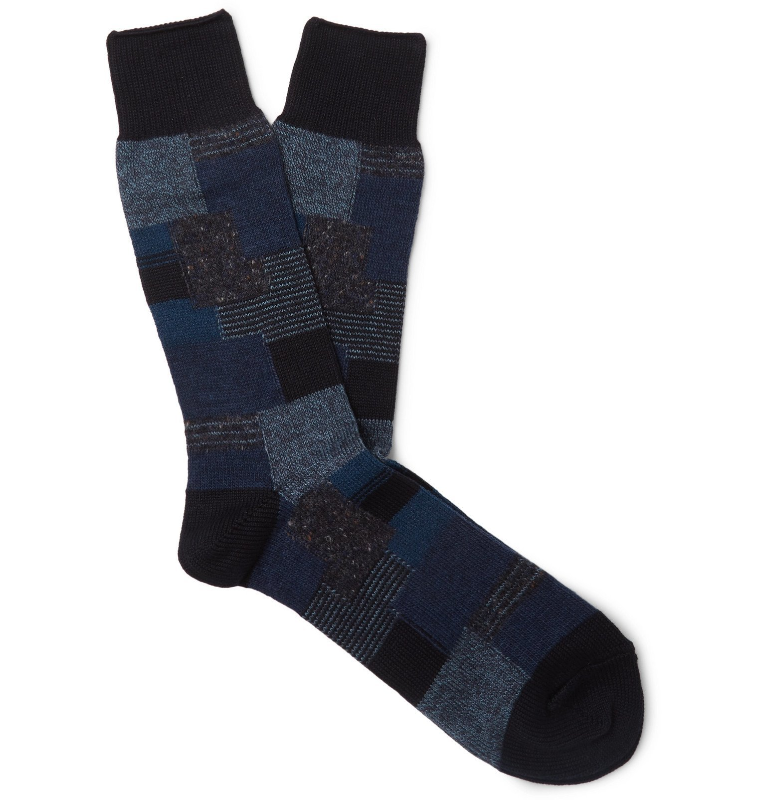 Photo: Anonymous Ism - Patchwork Jacquard Socks - Blue