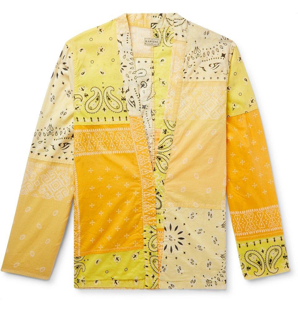KAPITAL - Patchwork Bandana-Print Cotton-Blend Shirt - Yellow