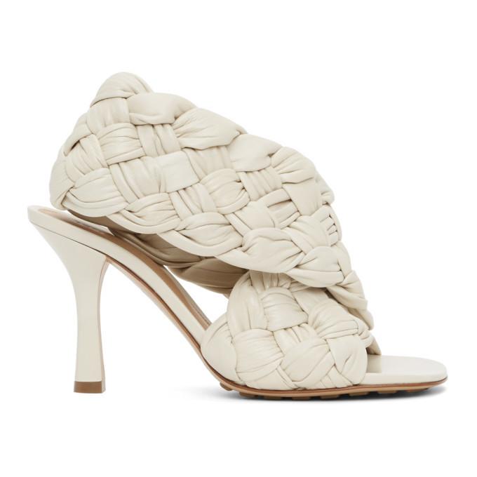 Photo: Bottega Veneta Off-White Intrecciato Board Heeled Sandals