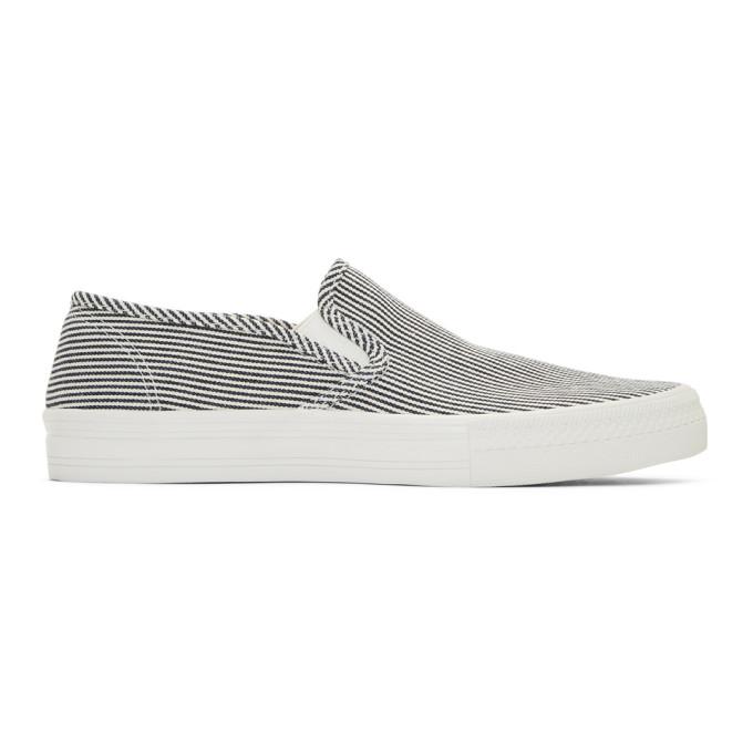 Photo: Junya Watanabe Navy and White Stripe Cotton Hickory Sneakers