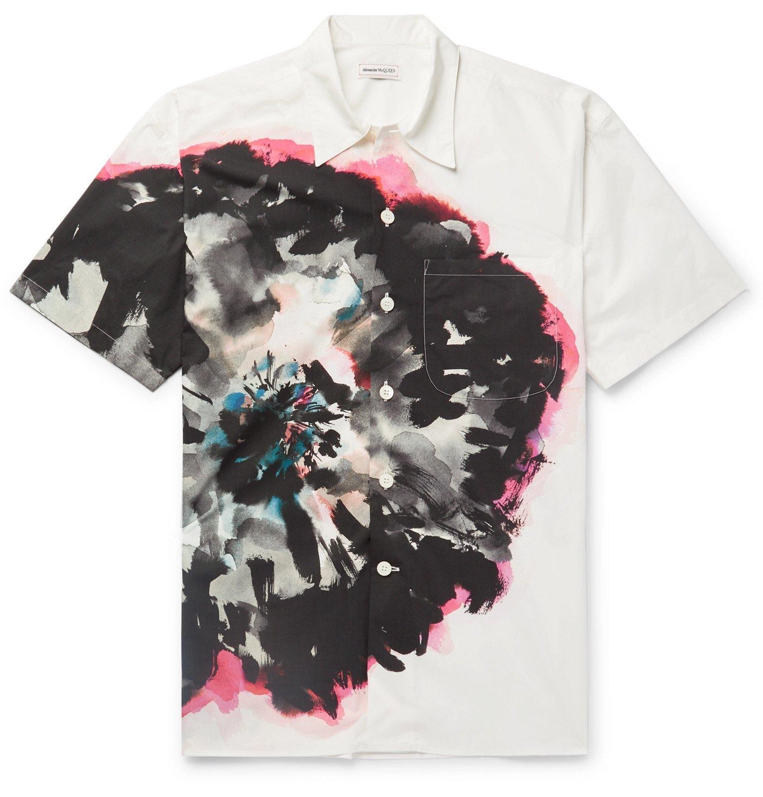 Photo: Alexander McQueen - Printed Cotton-Poplin Shirt - White