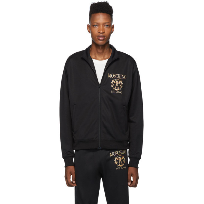 Photo: Moschino Black Logo Roman Double Question Mark Track Jacket