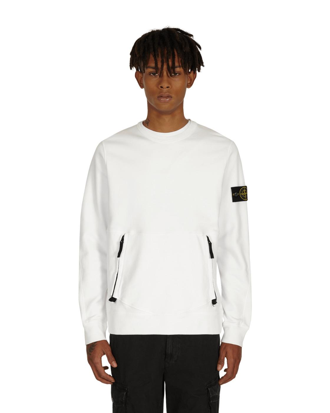 Stone Island Front Pocket Crewneck Sweatshirt White